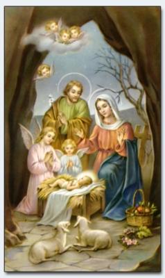 25003 - Weihnachten: Hl. Familie mit Engeln und Schafen